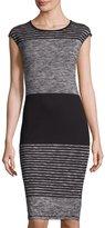 Max Studio Striped Knit Midi Dress, Black/Ivory