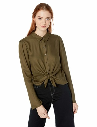 Volcom Junior's Women's Laundry Monies Long Sleeve Button Down Top
