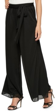 Alex Evenings Sash-Belt Wide-Leg Pants, Regular & Petite Sizes