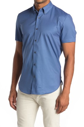 Construct Mini Geo Print Short Sleeve Slim Fit 4-Way Stretch Shirt