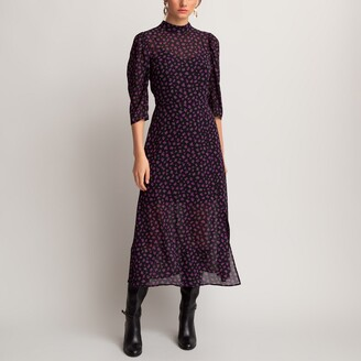 Printed Midi Dress with High-Neck and 3/4 Length Sleeves