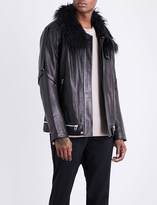 Helmut Lang Faux-fur collared leather jacket