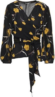 Joie Floral-print Silk-georgette Wrap Blouse