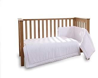 Clair De Lune Marshmallow 3 Piece Cot/Cot Bed Quilt & Bumper Bedding Set - White