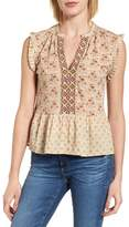 Lucky Brand Mix Print Peplum Top