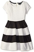 My Michelle Girls' Cap Sleeve Solid Textured Knit Skater Dress with Colorblock Skirt