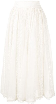 Zimmermann Super Eight butterfly-lace midi skirt