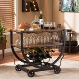 Baxton Studio Triesta Medium Brown and Bronze Wine Cart with Wine Glass Storage