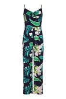 Yumi Tropical Palm Print Tie Knot Jumpsuit