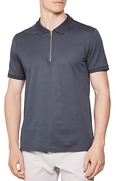 Reiss Jude Zip Neck Slim Fit Polo Shirt