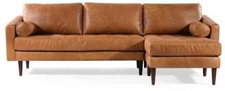 Mid-Century MODERN Poly & Bark Florence Mid Century Modern Right Sectional Sofa Cognac Tan