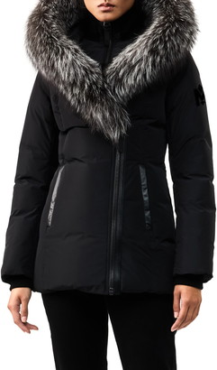 Mackage Adali-X Hooded Down Parka with Inset Bib & Genuine Fox Fur Trim