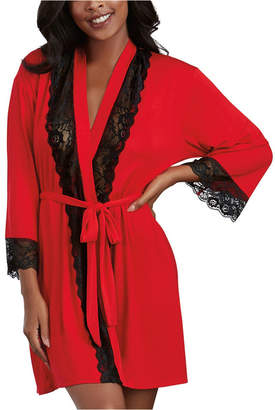 Dreamgirl Soft Spandex Jersey Robe With Lace Inserts