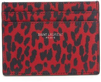 Saint Laurent Leopard Print Leather Card Case