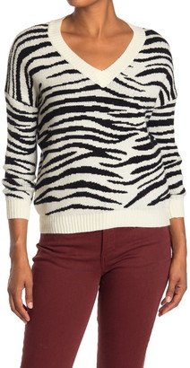 Poof V-Neck Zebra Print Sweater