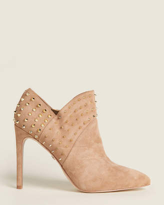 Sam Edelman Oatmeal Wally Studded Suede Ankle Booties