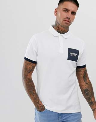 Barbour International Scortch polo with square logo in white