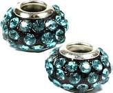 Olympia Dark Teal on Black Bead Charm - Compatible & Fits ALL Major Brand Name Bracelets