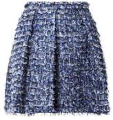 Proenza Schouler Fringed Printed Crepe Mini Skirt - Royal blue