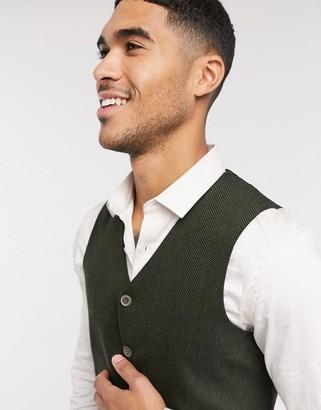 ASOS DESIGN wedding super skinny wool mix suit suit vest in khaki herringbone