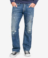 Silver Jeans Co. Men's Zac Relaxed Fit Straight Stretch Ripped Jeans