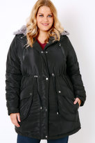 Yours Clothing Black Memory Padded Parka With Faux Fur Hood
