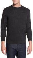Neiman Marcus Contrast-Trim Crewneck Sweater, Charcoal/Gray