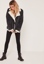 Missguided Fur Lined Pilot Jacket Black And Cream