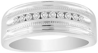 FINE JEWELRY Mens 1/4 CT. T.W. Genuine White Diamond 10K White Gold Wedding Fashion Ring