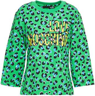 Love Moschino Leopard-print French Cotton-blend Terry Sweatshirt