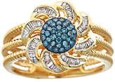 Affinity Diamond Jewelry Blue & White Diamond Flower Ring, 3/10cttw, 14K, by Affinity