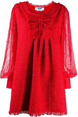 MSGM Tweed And Lace Mini Dress