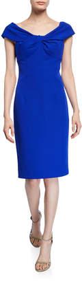 Trina Turk Imperative Portrait-Neck Short-Sleeve Crepe Sheath Dress