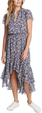 1 STATE Floral-Print High-Low Dress