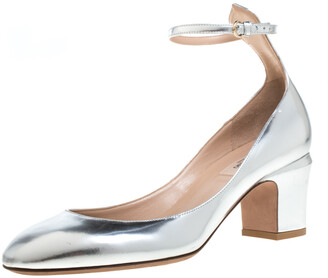 Valentino Metallic Silver Leather Tango Block Heels Ankle Strap Pumps Size 39