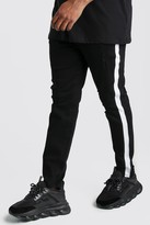 boohoo Mens Black Big And Tall Side Panel Skinny Jean, Black