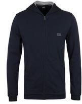 Boss Navy Jersey Zip Through Hooded Sweatshirt