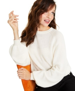 Charter Club Cashmere Brushed Blouson-Sleeve Sweater, Created for Macy's