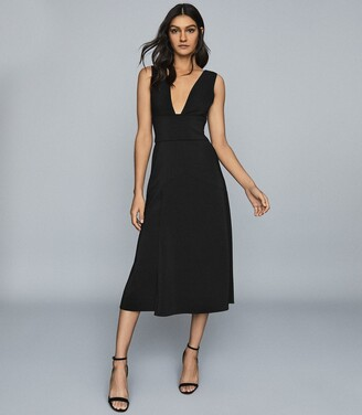 Reiss Adele - Plunge Neckline Midi Dress in Black