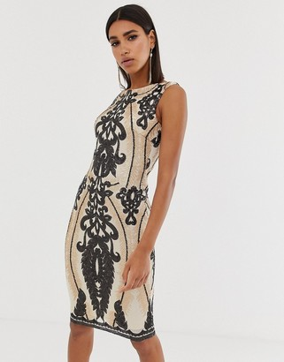 Goddiva high neck placement sequin midi dress in taupe and black-Multi