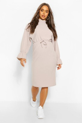 boohoo Batwing Drawstring Waist Midi Dress