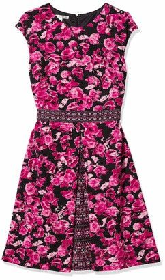 Maggy London Women's Ikat Rose Border Print Texture Fit and Flare
