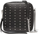 Jimmy Choo Roxi Studded Leather And Glossed-elaphe Shoulder Bag - Black