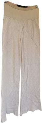 Rick Owens Ecru Silk Trousers