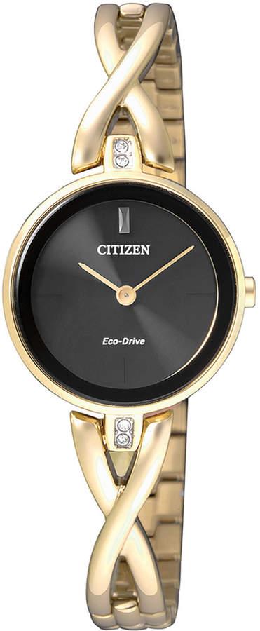 Citizen EX1422-89E Stainless Steel Eco-Drive Swarovski Watch in Gold