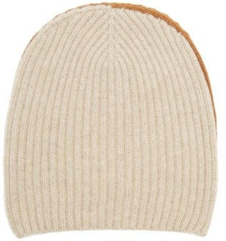 Begg X Co - Two-tone Ribbed Cashmere Beanie Hat - Cream Multi