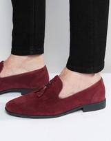 Asos Tassel Loafers in Burgundy Faux Suede