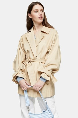 Topshop Womens Cotton Cropped Trench Coat - Buttermilk