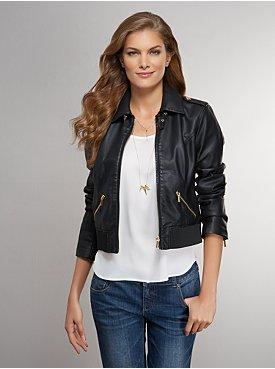 New York & Co. Goldtone Zipper Faux-Leather Moto Jacket