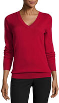 WORTHINGTON Worthington Long Sleeve V Neck Stripe Pullover Sweater-Talls